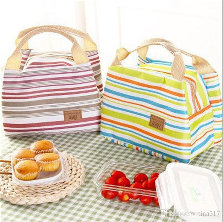Thermal Insulated Portable Cool Canvas Stripe Lunch Totes Bag Carry Case picnic lunch bag zipper bag lunch box B0893