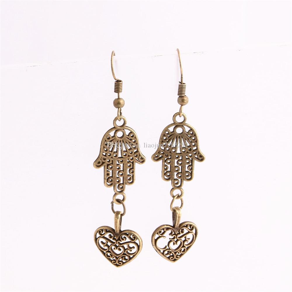 Metal Alloy Zinc Love Pendant Hamsa Hand Connector Hollow Heart Charm Drop Earing Diy Jewelry Making C0671