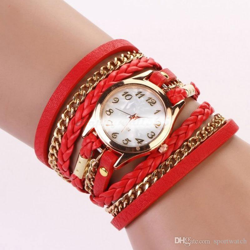 도매 여성의 크리 에이 티브 꼰 로프 체인 팔찌 꼰 팔찌 시계 여성 쿼츠 손목 시계 무료 배송