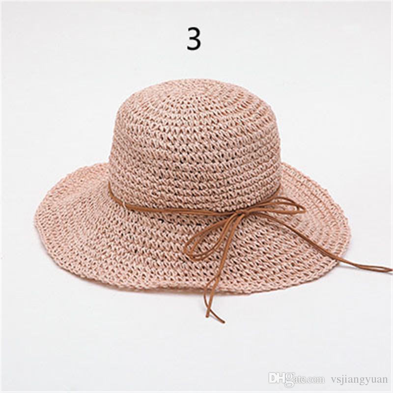 New fashion women line decoration costume hat ms sun hat summer beach soft straw Bohemia folding manual hat