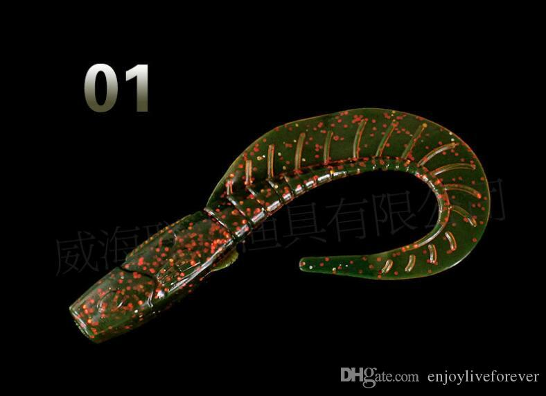 2017 Top 12cm 13g Single Tail Maggot Worms Soft Baits and Foliage Type Fake Fishing Lures or Simulation Road Baits for Saltwater