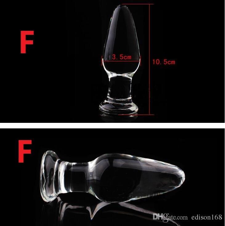 Crystal Glass Dildos Vagina Anal Plug Unisex Anus Förstorger Dilator Onani Produkt Vuxen Bondage BDSM Sex Butt Toy 7 Style