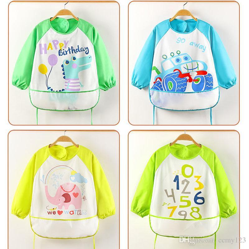 Cute Cartoon Baby Bibs Long Sleeve Art Apron Animal Smock Children Bib Burp Clothes Soft Feeding Eat Toddler Waterproof Baberos