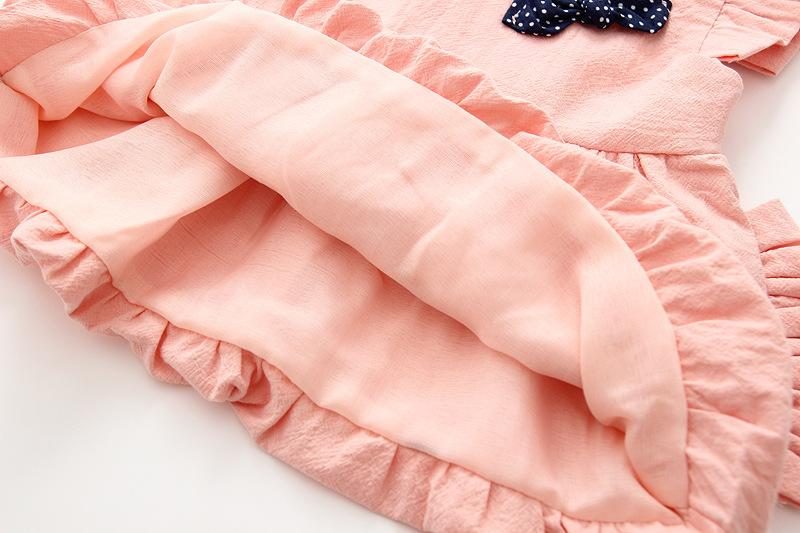 Clear Stock Baby Girls Cap Sleeves Bud Dresses 2018 Spring Kids Boutique Clothing 1-4T Kids Solid Color Dresses with Bear Bag