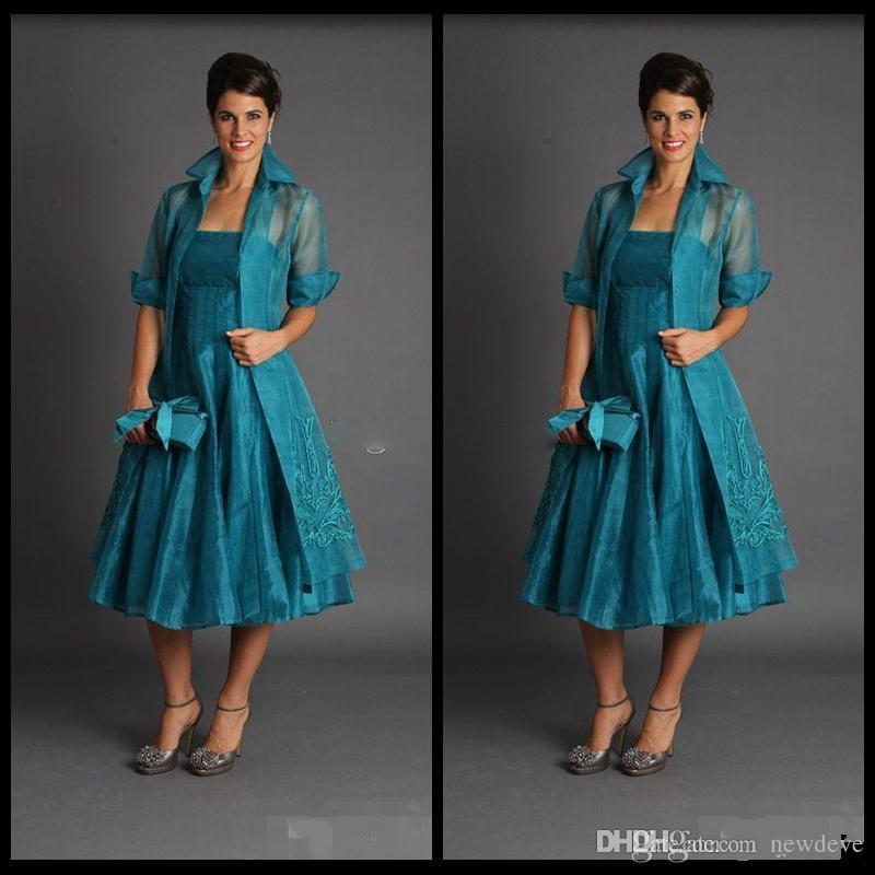 Artı Boyutu Koyu Yeşil Anne Gelin Elbiseler 2019 Ceket Elbise Kolsuz Çay Boyu Anneler Örgün Törenlerinde Suits Ucuz Organze