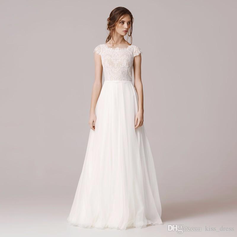 2019 A Line Lace Wedding Dress Floor Length Chiffon Tulle Vestido De Novia Square Neckline Cap Sleeve Bridal Gowns Robe De Mariage W906
