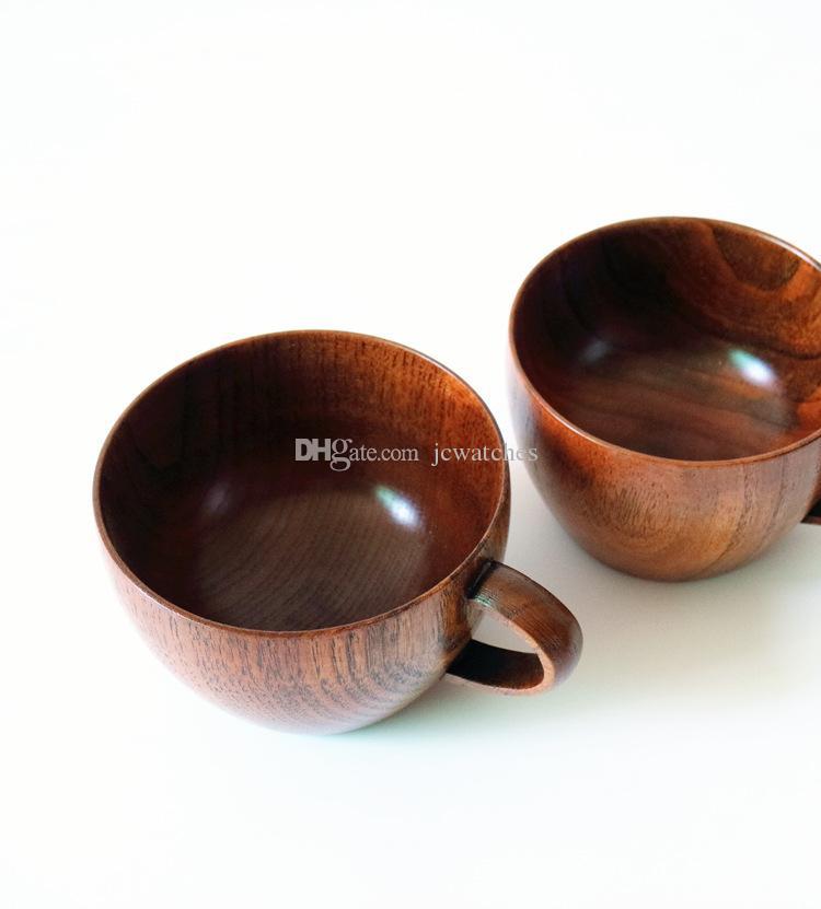 Hölzerne Becher Bar Cup mit Griff Kaffee Tee Wasser Tassen für Reise Wein Bier Milch Holz Becher