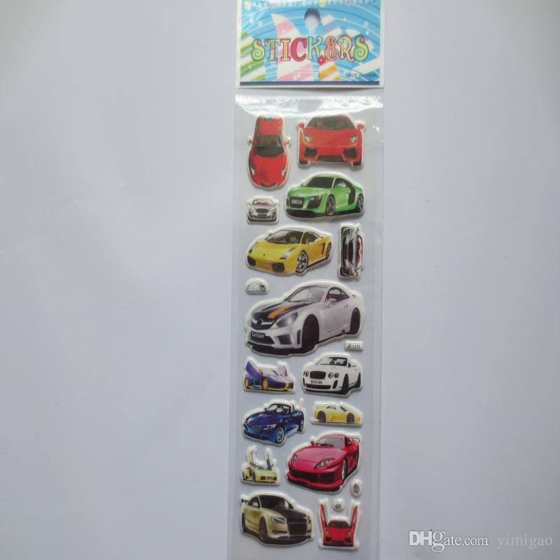 6 sheetscartoon car sticker 3D bubble stickers scrapbooking for kids Home decor Diary Notebook Label Decoration toy