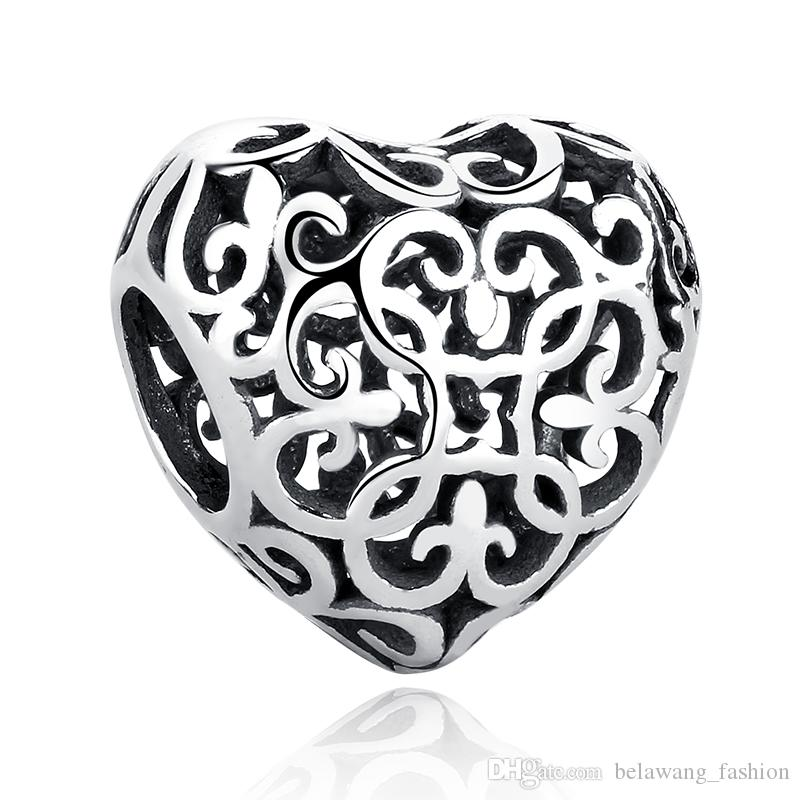 925 Sterling Silver DIY European Enamel Engrave Love Charm Bead fit Bracelet