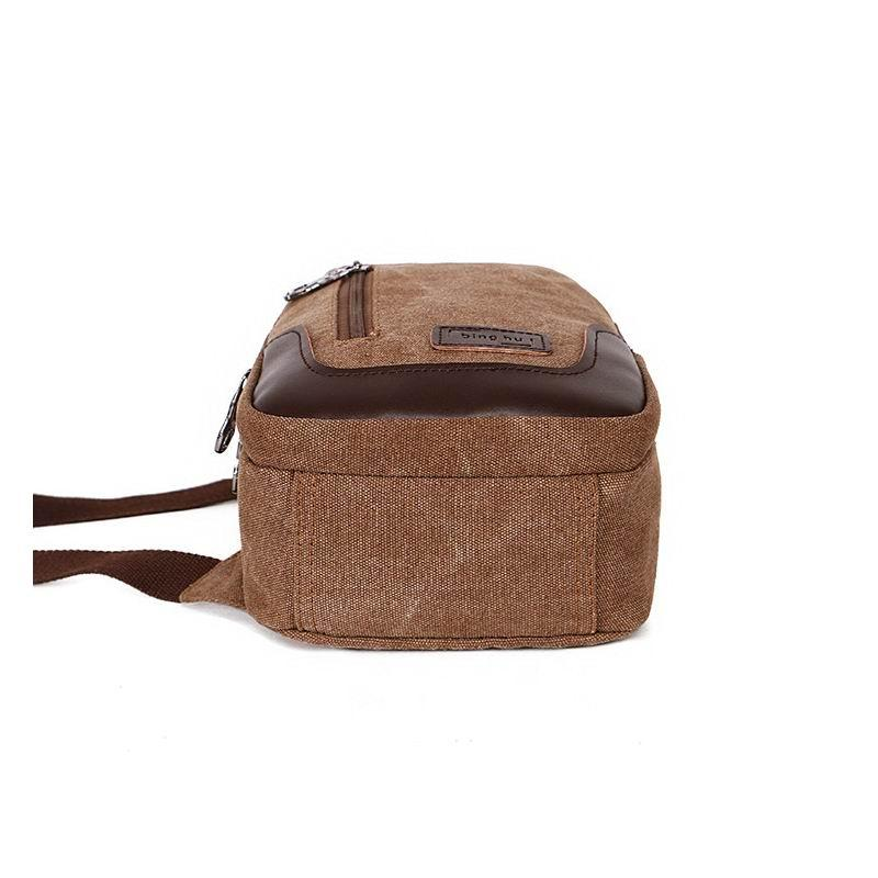New Men Canvas Carry-On Small Chest Bag Sling Pack Unbalanced Backpack Single Shoulder Bag for Student Cross Body Male Bag