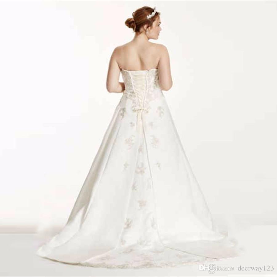 Novo 2019 A linha Plus Size Vestido De Noiva com Lace Up Voltar Strapless Appliques Designer Trem Tribunal de vestidos de noiva vestido de noiva 9V9665