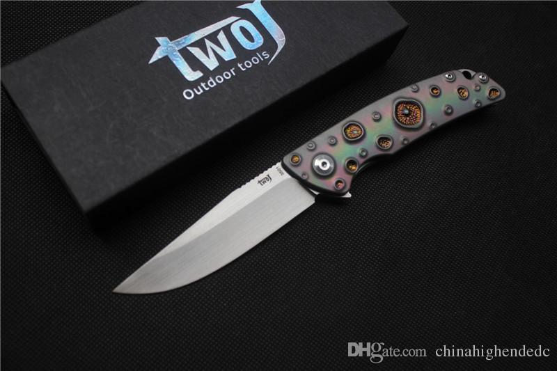 Freies Verschiffen, faltendes Messer der Qualitäts TWOJ 3501, Blatt: S35VN Satin, Griff: TC4 Flugzeug, das im Freien kampierendes faltendes Messer EDC trägt
