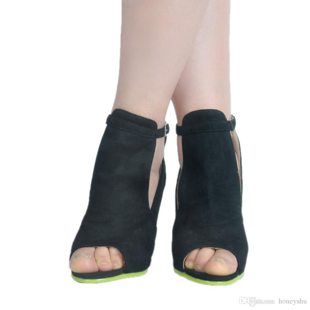Kolnoo Handmade Womens Fashion Shoes High Heel Peep Toe Kid-suede Party Dress Ankle Strap Summer Sexy Sandals XD385