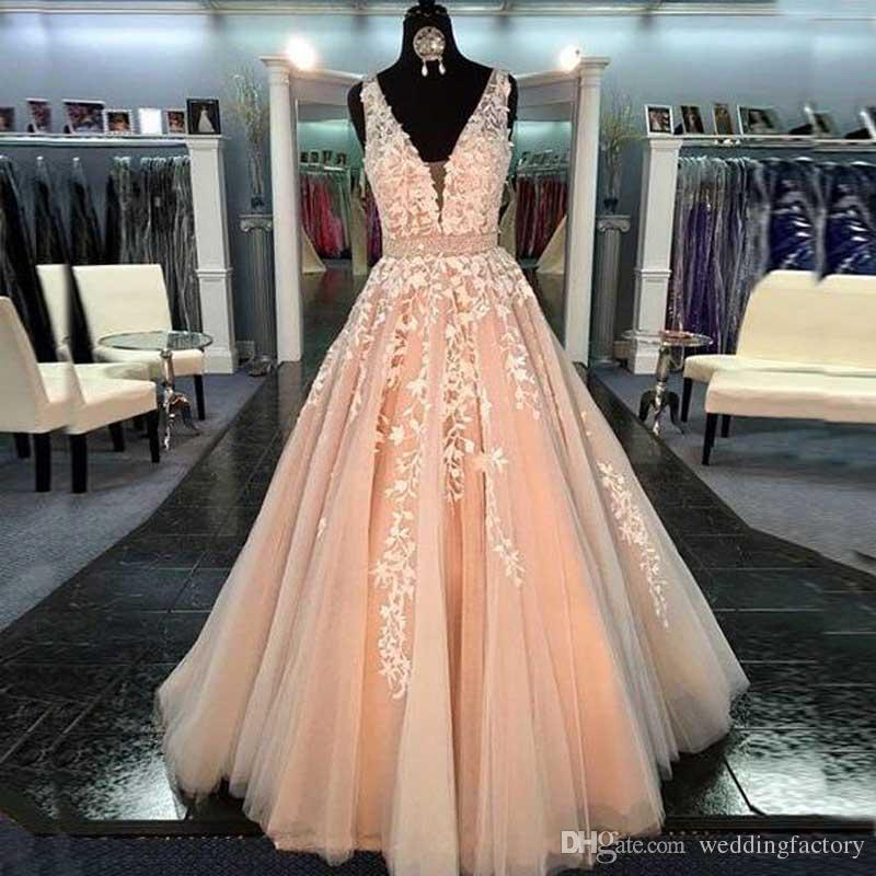 a8a2ae56814 Gorgeous 2017 V Neck Prom Dress Long Formal Gowns Evening Party Wear Luxury  Lace Appliques Beaded Belt Blush Pink Tulle Prom Dress Short Plus Size Prom  ...