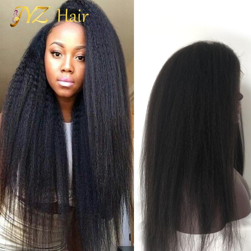 JYZ Lace Frontal Human Hair Wigs Pre Plucked Remy Human Hair Lace Wig Short Curly Wigs Kinky Straight For African American