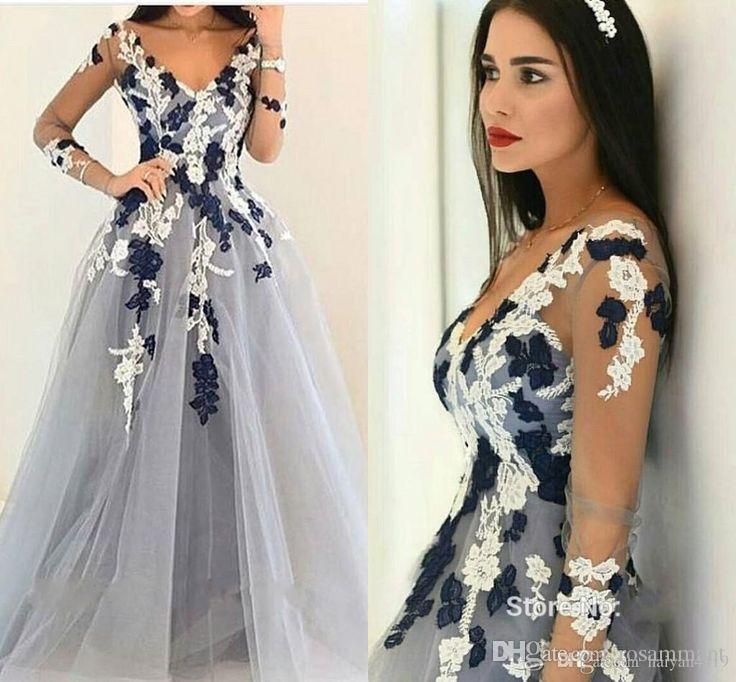 New Custom Made fantastique robe de bal manches longues robe de soirée Parti Appliques V-cou Robe de haute qualité