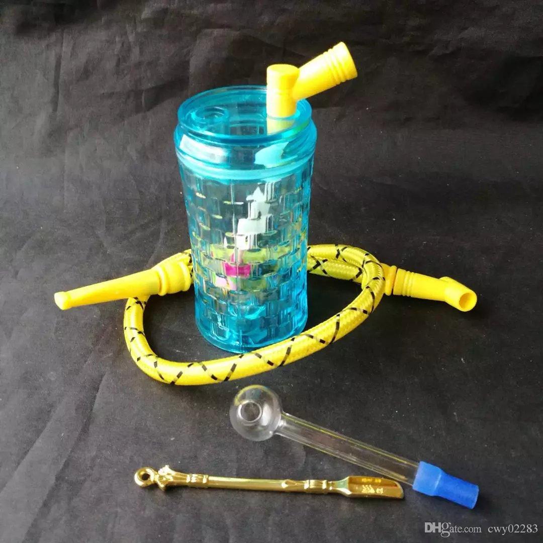 Narghilè acrilico blu, accessori di vetro all'ingrosso del bong, fumo di vetro della pipa dell'acqua, trasporto libero