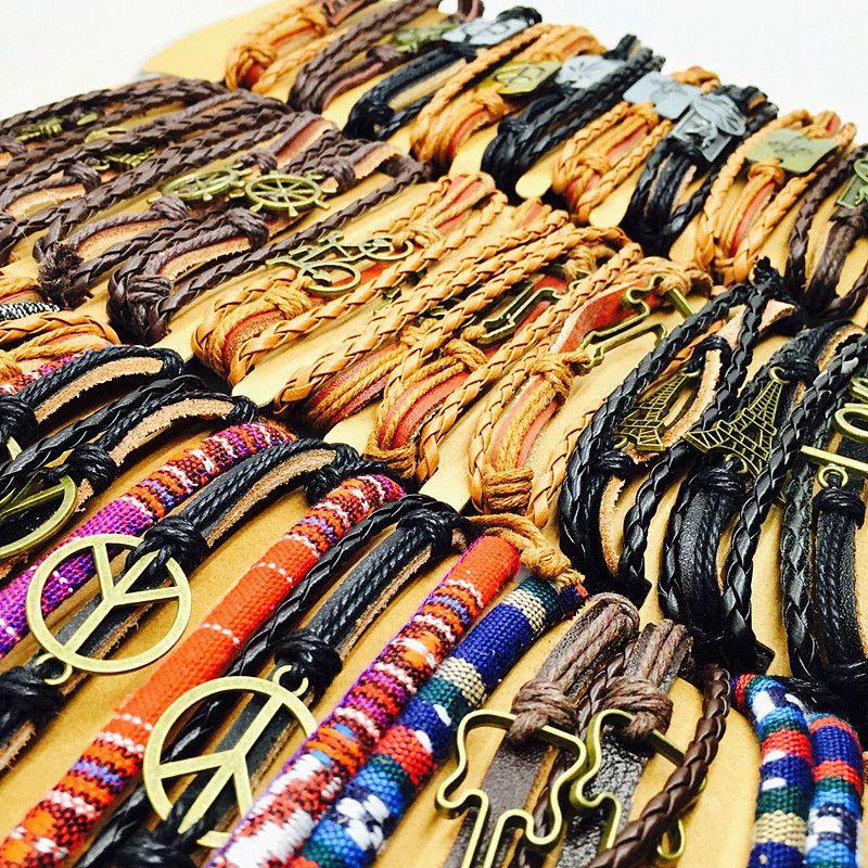 Оптовая много 24 шт. mix стили Серфер мужская женская мода металл кожа ручной работы манжеты ювелирные браслеты