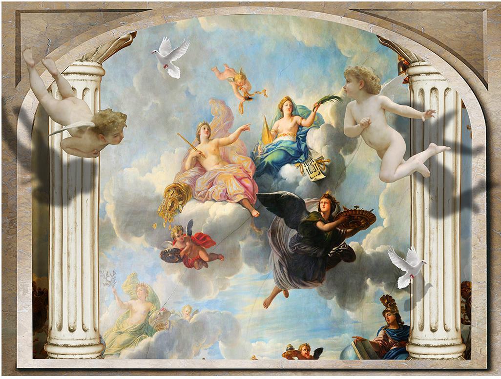 European Roman Pillars Angel 3d Tv Backdrop Mural 3d