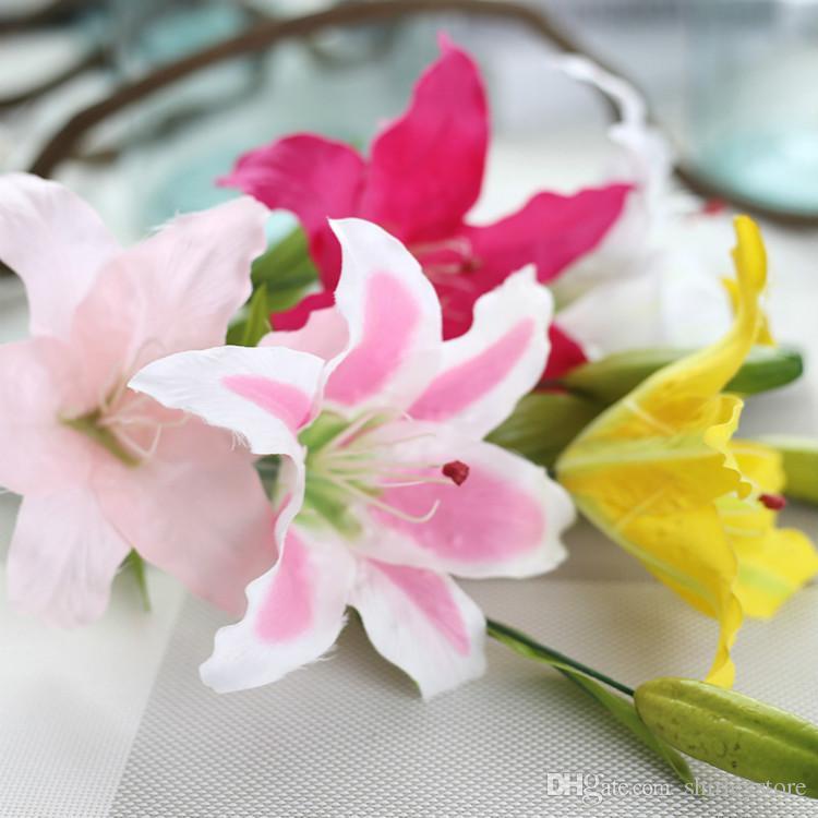 62cm Single Stem Lily Silk Artificial Flowers Wbuds Decorative