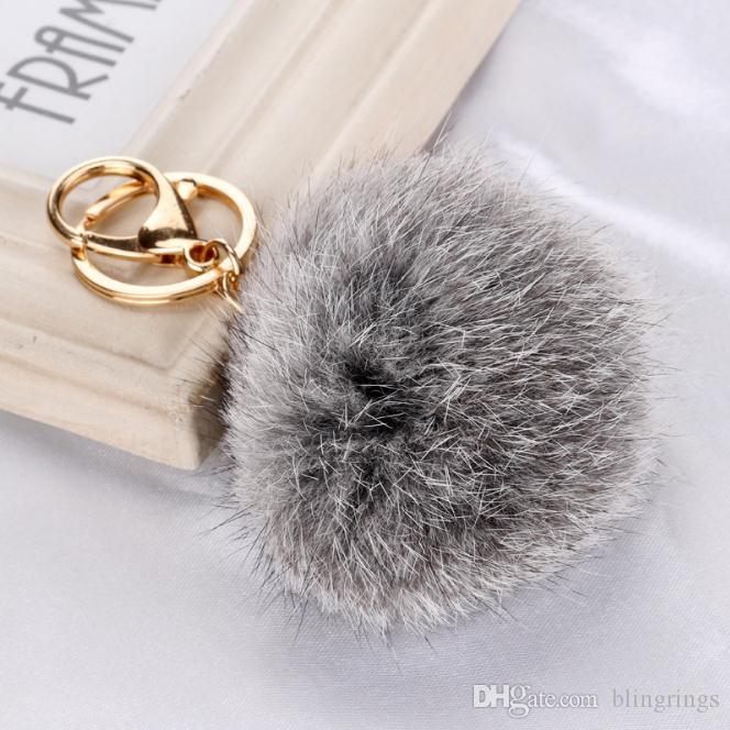 Hot fashionable high quality fluffy keychain cute ball simulation rabbit key chain for women Car Keyring Bag Earrings Accessories