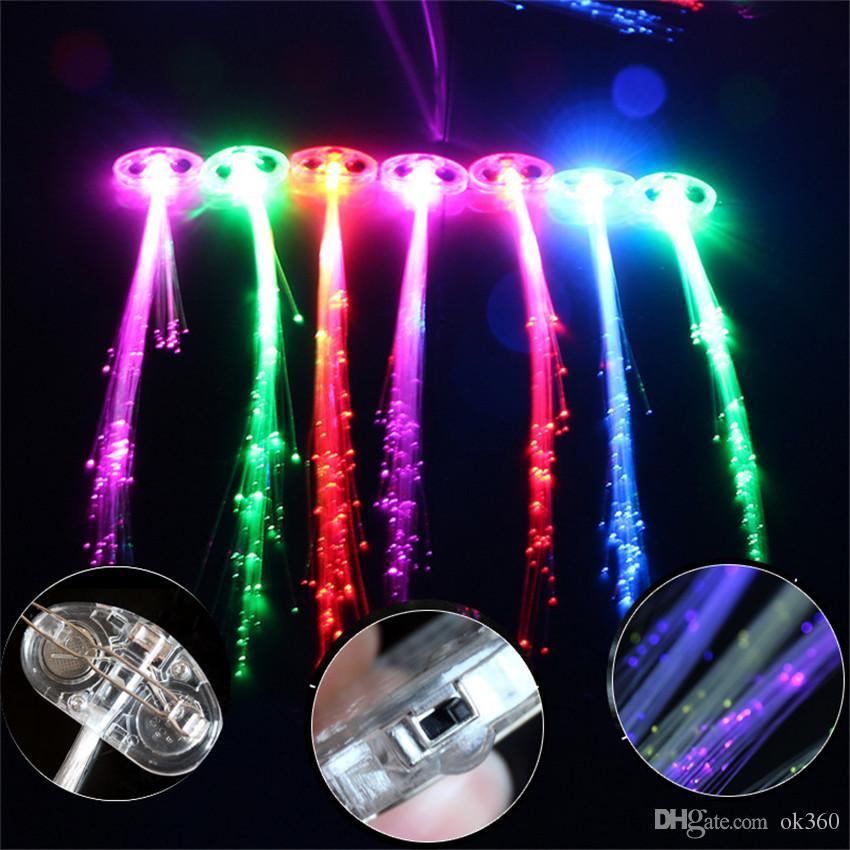 Día de Halloween Fibra Luminosa Trenza Multicolor LED Luz de flash Fibras ópticas Trenzas Barras Cumpleaños de fiestas Conciertos de KTV Cabello Luz de vacaciones