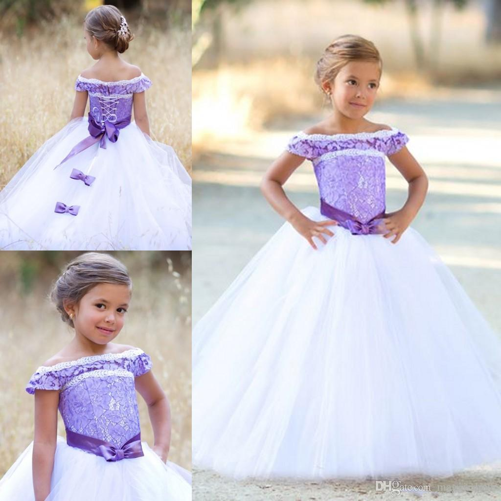 2017 Cheap Purple Lace Ball Gown Little Flower Girls Dresses For Wedding Party Princess Ruffle Bow Floor Length Tulle Kids Pageant Dresses
