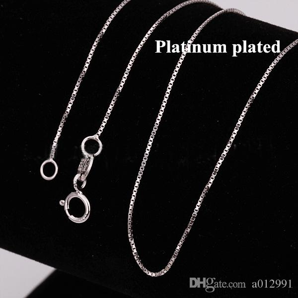 Lowest Price 925 Sterling Silver Box Chain Seeds Chain Necklaces Jewelry TOP Quality 925Silver Plated 1mm 2.5g 18inch fashion jewelry