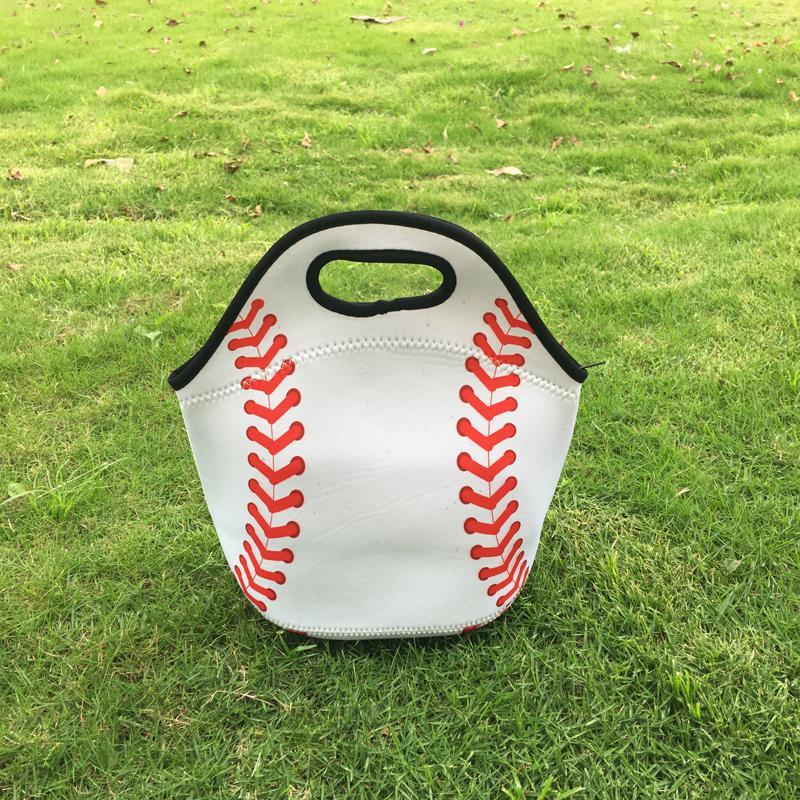 Wholesale Blanks Neoprene Lunch Bag Small Food Carrier Cute Baseball Softball Lunch Box Picnic Bag DOM103509