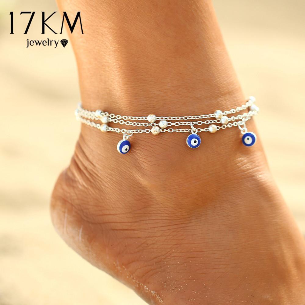 Großhandel 17 Km 2 Stil Türkische Augen Perlen Fußkettchen Für