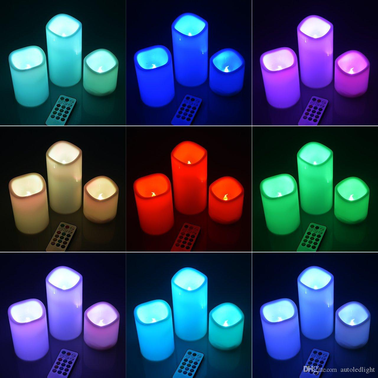 Wax Flameless LED Candles light With Remote Control Timer 3 Candle Indoor Night Party Light Decor for Wedding birthday Party Christmas
