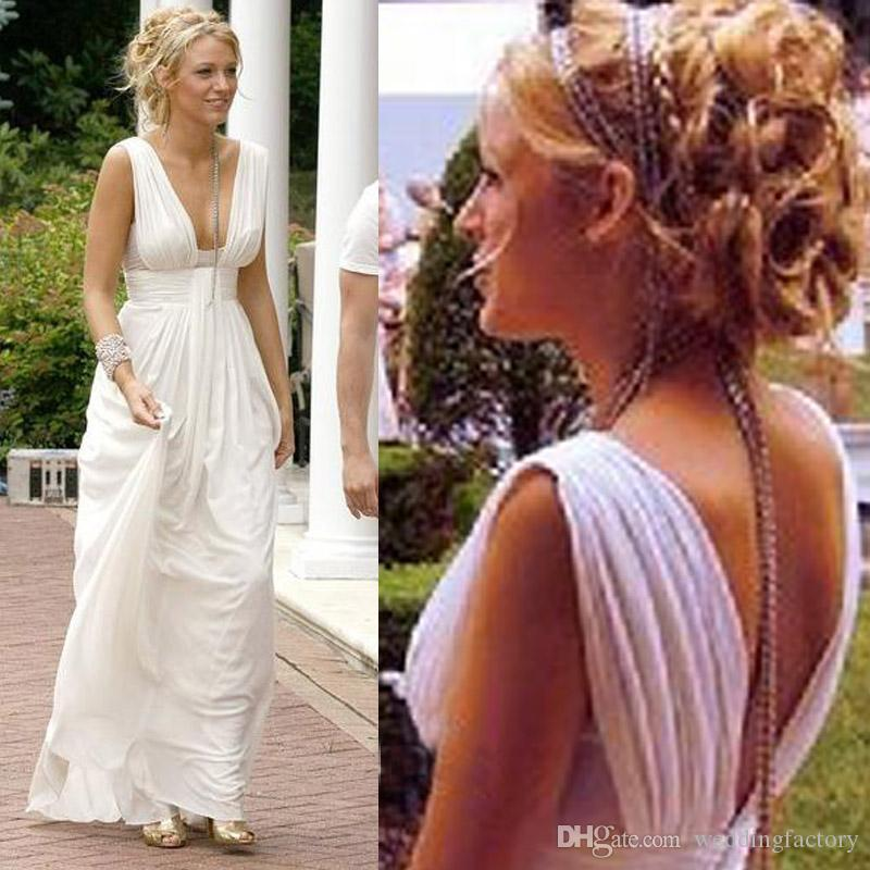 Ivory White Grecian Wedding Dress A Line Sheath Sexy V Neck Ruched