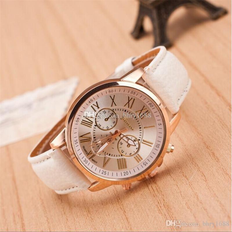 Fashion Gift watches Unisex Leather Geneva Watch Roman Numerals Dress Watches For Women Mens Analog Quartz Wristwatches