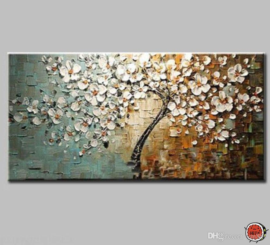 Framed Tree with White Flowers,Pure Hand Painted Modern Wall Decor ...