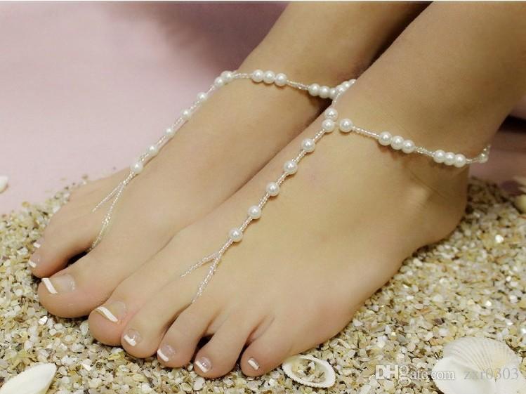 Mode perle cheville femmes cheville bracelet plage imitation perle pieds nus sandale cheville pour les femmes chaîne pied bijoux