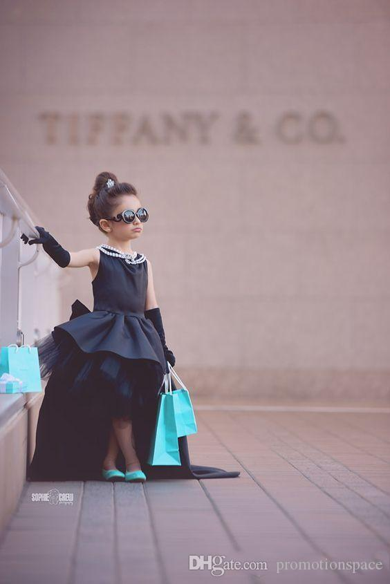 2017 Arabic High Low Flower Girls Dresses Black Ball Gown Satin Tulle Tutu Dress Birthday Pageant Gowns for Little Girl