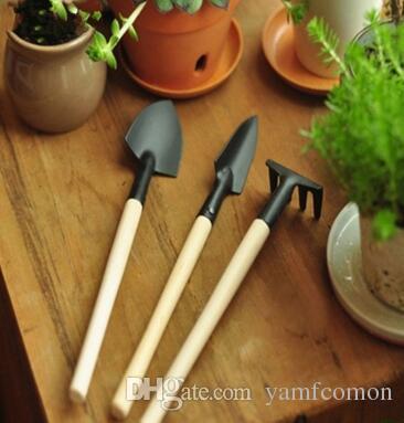 / Ensemble Mini Jardin Main Outil Kit Plante Jardinage Pelle Pelle Râteau Truelle Poignée En Bois Tête Jardinier