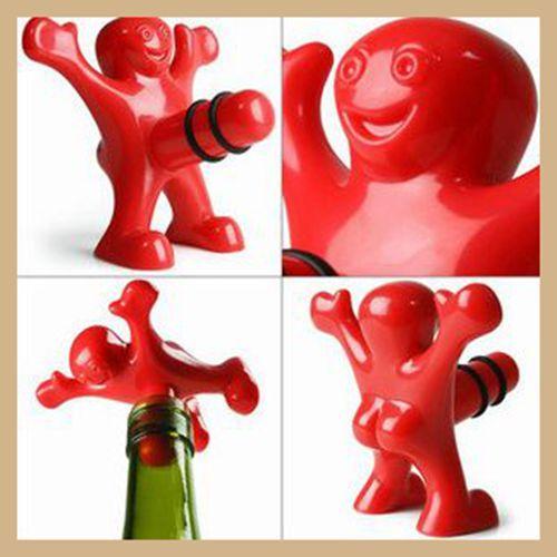 Komik Mutlu Adam Tasarım Şarap Tıpalar Mini Bira Şişe Açacakları Şarap Cockscrew Kitchen Bar Yaratıcı Şarap Bira Açacakları Fişler Kırmızı Siyah renkler