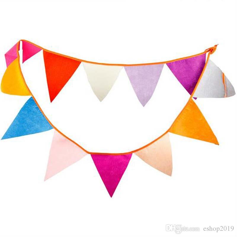 Bandiere - 2.8M Felt Fabric Banners Personalità Wedding Bunting Decor Candy Red Party Compleanno Baby Shower Ghirlanda Decorazione