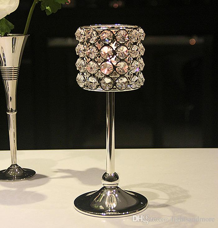30ps / 20cm 25cm 30cm silver color crystal beaded luxury candle holder candelabra candlestick for event wedding table decor