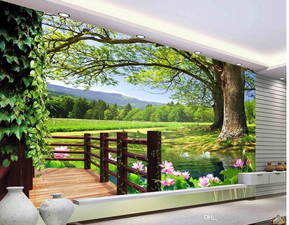 Luxury european modern hd 3d tree landscape background for Luxury 3d wallpaper