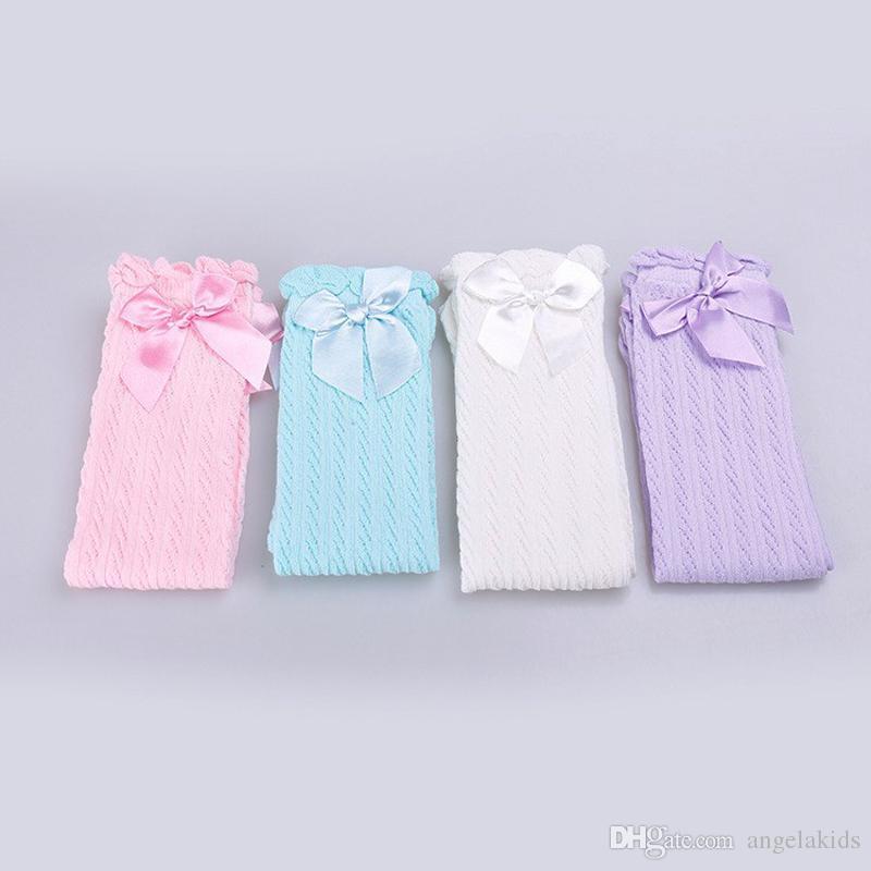 Bébé Filles Genou Haut Chaussettes Enfants Enfants Mignon Dentelle Arcs Princesse jambières Coton Solide Fille Long Tube Blanc Chaussettes