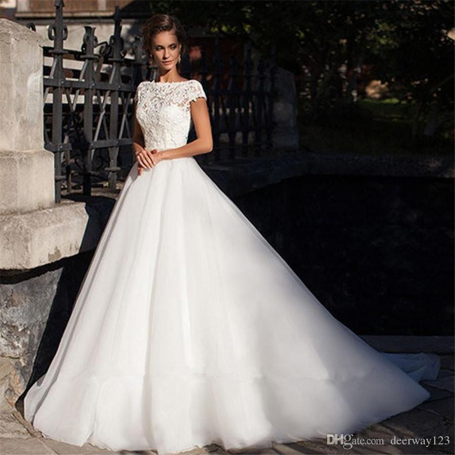 Wedding Gowns With Cap Sleeves: Cap Sleeve Backless Short Sleeves Wedding Dress Lace Top