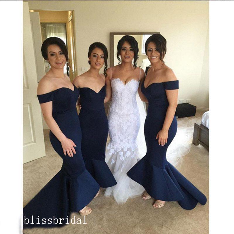 Chic Mermaid Bridesmaid Dresses Off-Shoulder Sweetheart Bow Ribbon Long Evening Gown Asymmetrical Ruffles Hemline Maid of Honor Dress