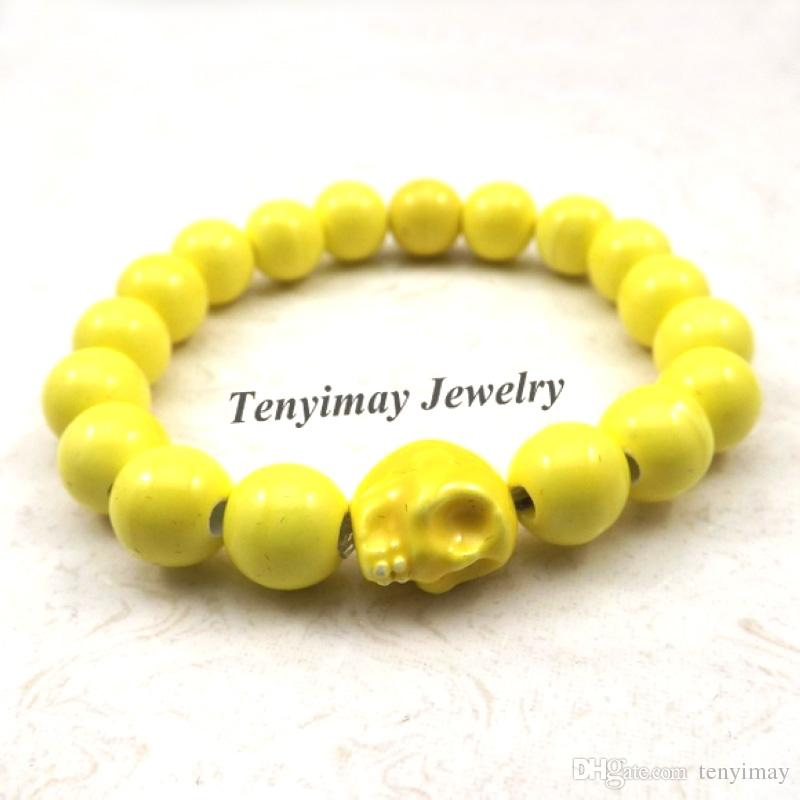 Chinese Style Yellow Skull Charm Bracelets 10mm Ceramic Beaded Elastic Bracelets For Halloween Party 12pcs Wholesale