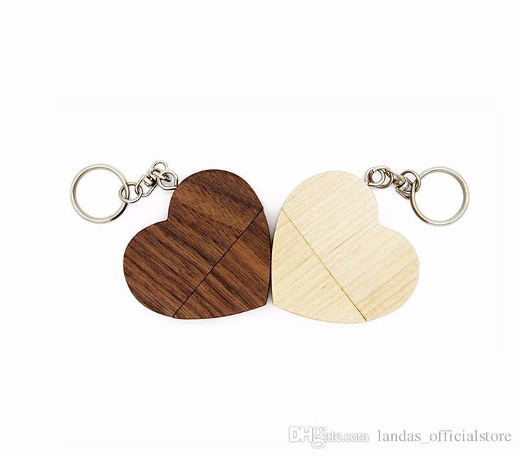 DHL корабль настроить natrual деревянные флешки 4 ГБ 8 ГБ 16 ГБ 32 ГБ сердце USB флэш-накопитель U диск памяти Stick USB для фотографии свадебный подарок