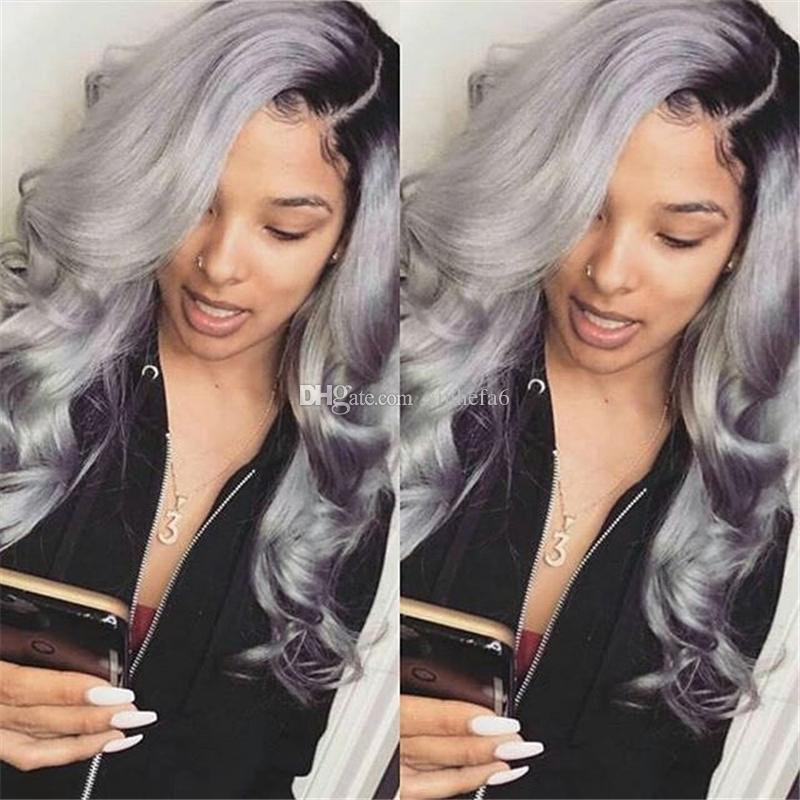 OmbreT1b grey Brazilian Body Wavy Human Hair Wigs With Baby Hair Glueless Pre Plucked Lace Front Wigs For Black Women