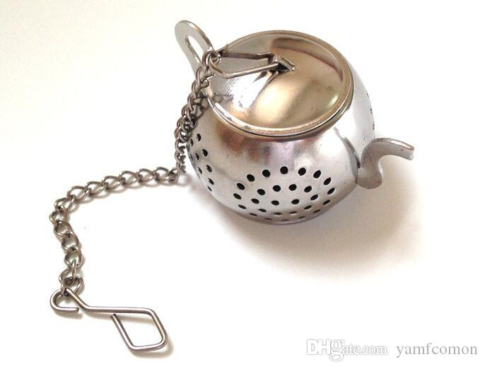 home kitchen bar tea tool Stainless Steel Loose Teapot Shape Tea Infuser With Tray Lovely Convenient Spice Drinking Strainer Herbal Filter
