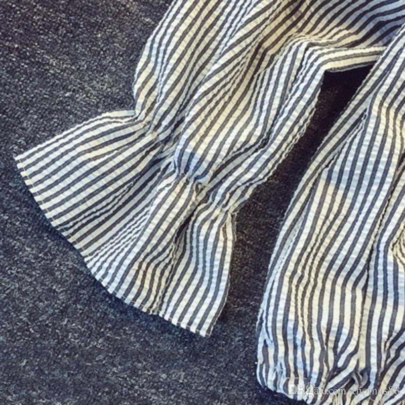 Оптовая бесплатная доставка горячие женщины с плеча топы лук вертикальный полосатый мода лето Женский с длинным рукавом Слэш шеи синий урожай