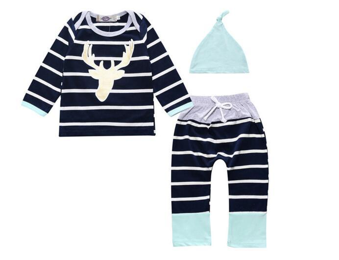 Baby Clothes Set Kid Fashion Suit Baby Boy Girl Sets Children Newborn Infant T Shirt Striped Pants Hat Bodysuits Outfits Clothing Sets
